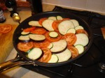 confit byaldi in the pan, ready for the oven