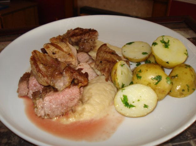 griddled lamb with cauliflower puree