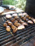 lamb kebabs on the BBQ