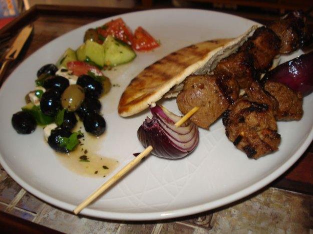 lamb kebabs with greek salad