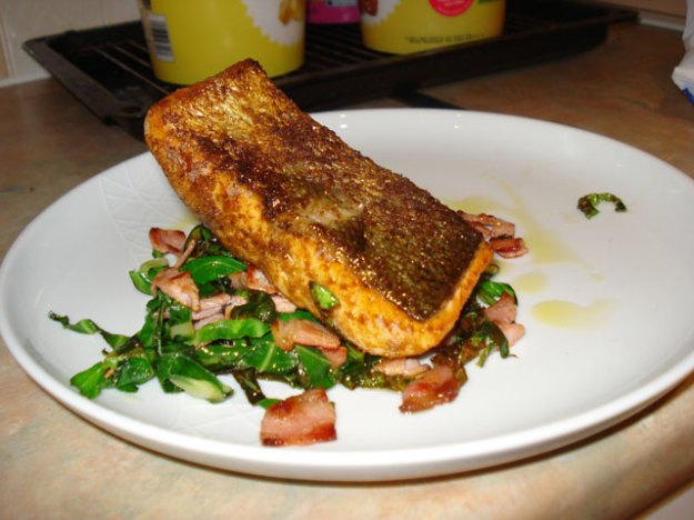 pan-fried salmon with spring greens and bacon