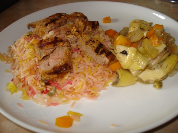 lamb tikka with artichokes alla romana and pilau rice