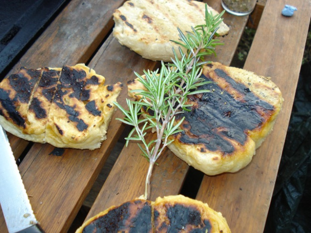 bread fresh from the barbecue, with rosemary