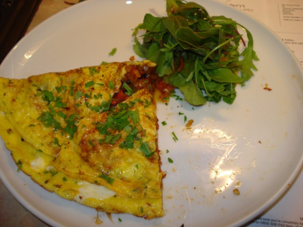 chorizo omelette with salad