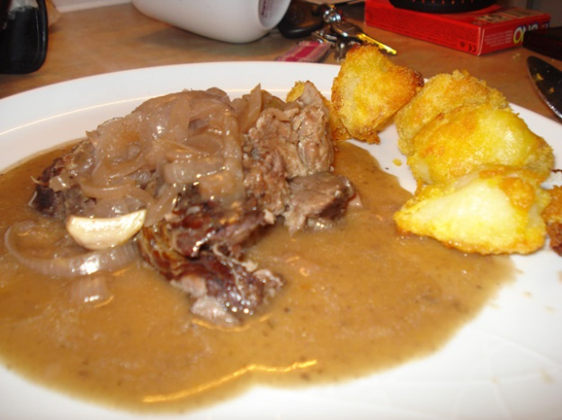 braised beef brisket with roast potatoes