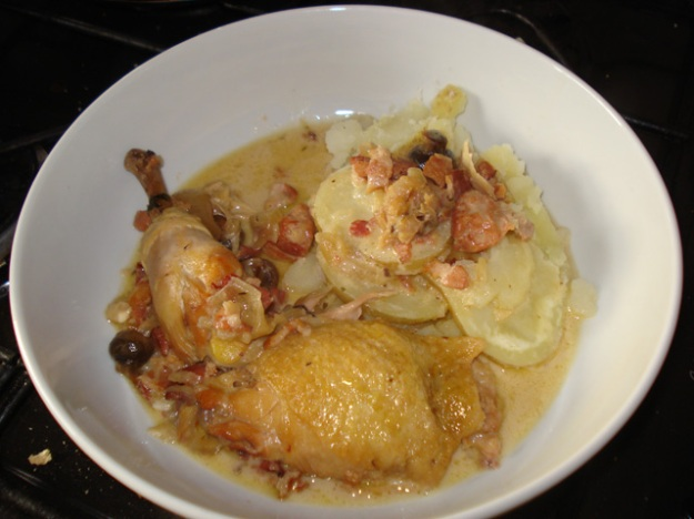 creamy pot-roast chicken with boiled potatoes