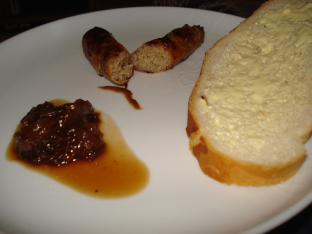 red onion chutney with a lincolnshire sausage