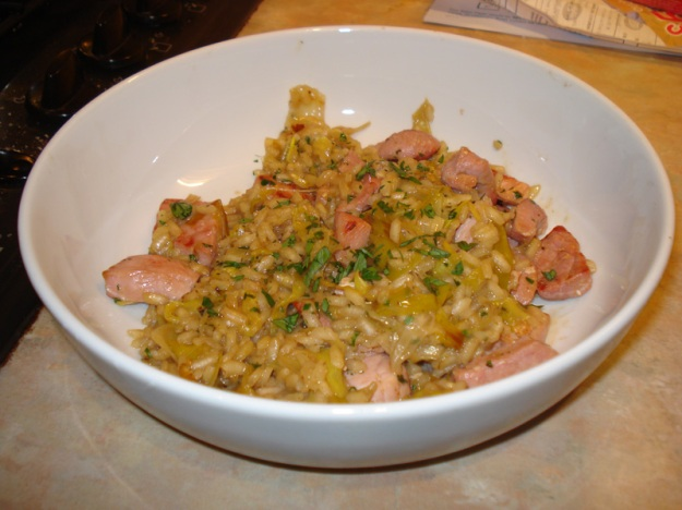 gammon and leek risotto