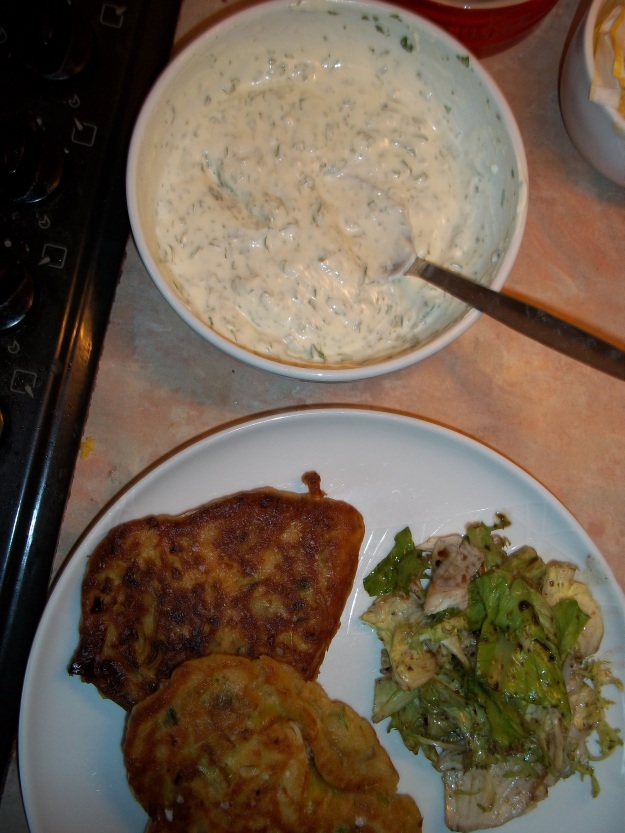 leek fritters with coriander and garlic yoghurt