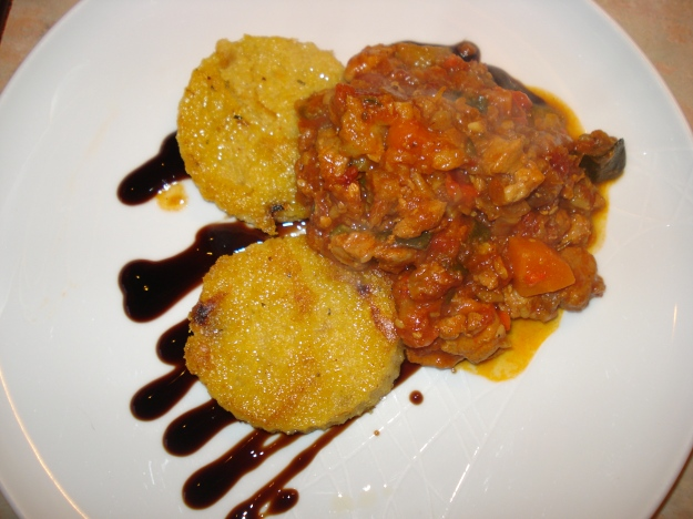 pork and chestnut casserole with fried polenta