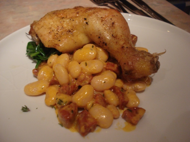 roast chicken legs with creamy chorizo butter beans