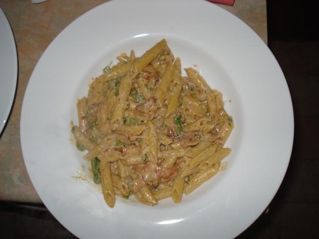asparagus, bacon and creme fraiche pasta