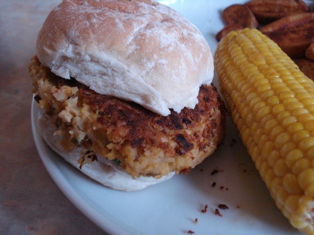 curried chickpea and cumin burger