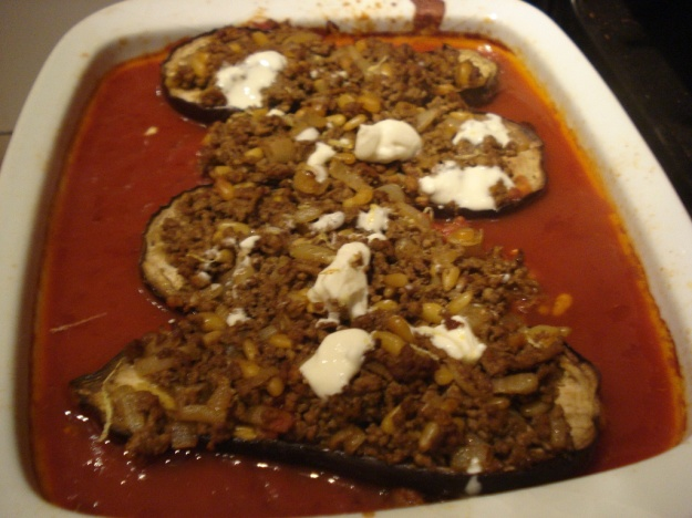 ottolenghi's aubergines stuffed with lamb and pine nuts