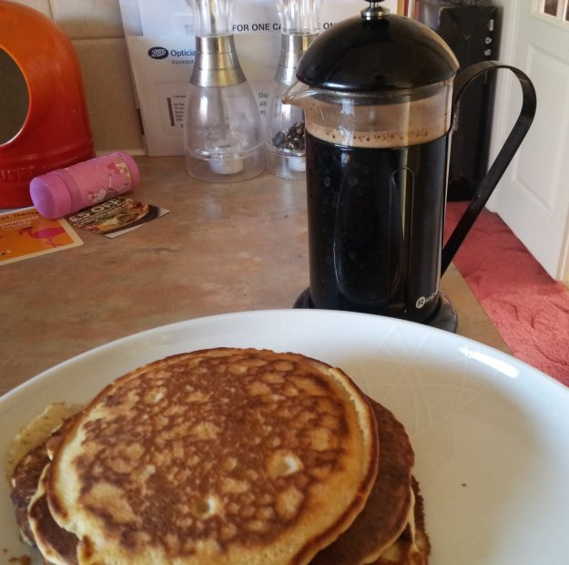 eggless pancakes with espresso syrup
